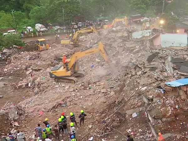 Raigad building accident: two people killed, 25 to 30 people feared trapped, ministers visited